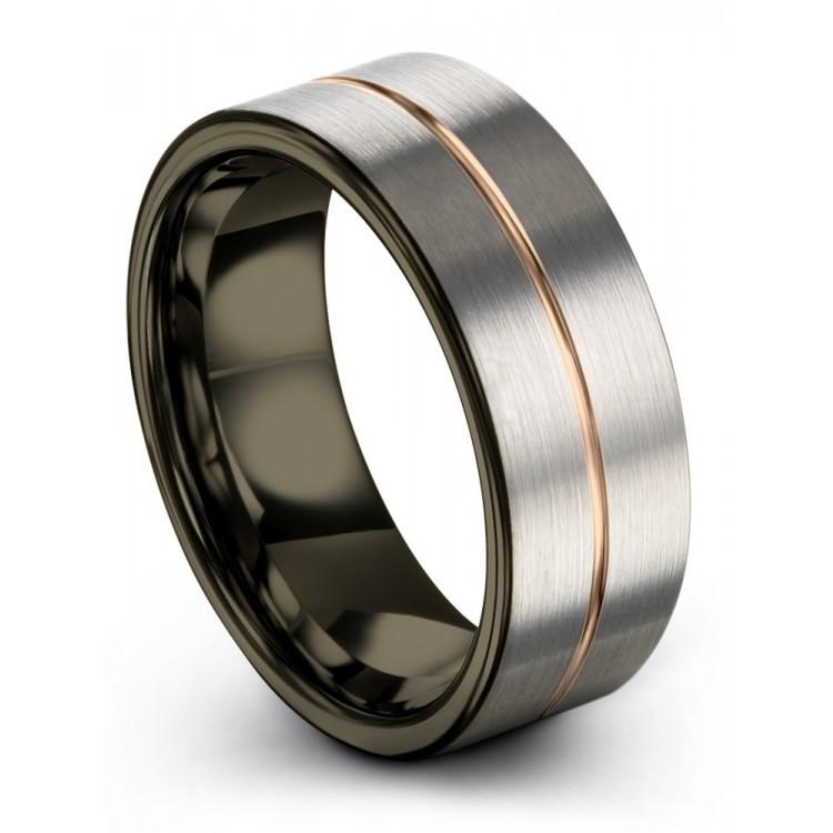 Galena Gray Moonlit Graphite Rose Gold 8mm Wedding Ring
