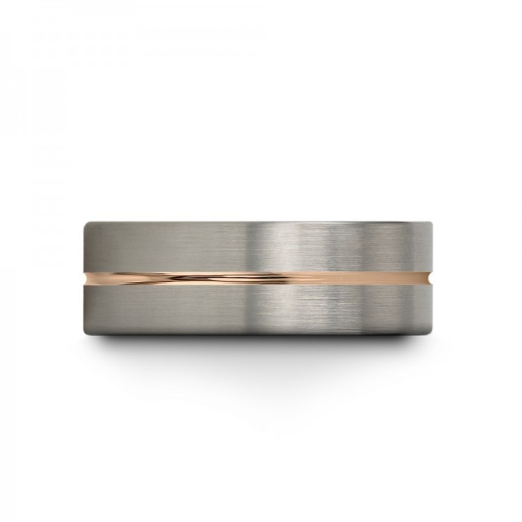 Galena Gray Moonlit Graphite Rose Gold 9mm Unique Wedding Rings