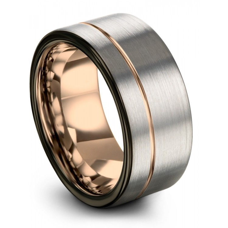 Galena Gray Moonlit Graphite Rose Gold 9mm Wedding Ring