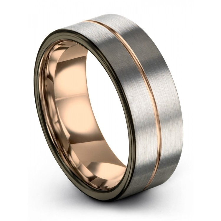 Galena Gray Moonlit Graphite Rose Gold 9mm Wedding Rings
