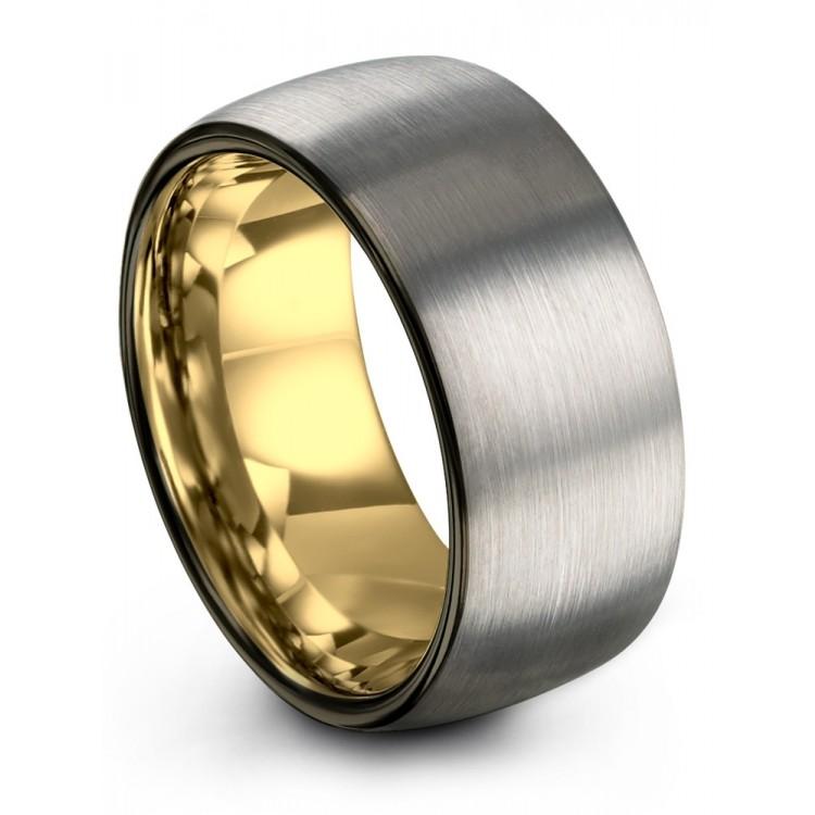 Galena Gray Moonlit Graphite Yellow Gold 10mm Latest Vintage Wedding Ring