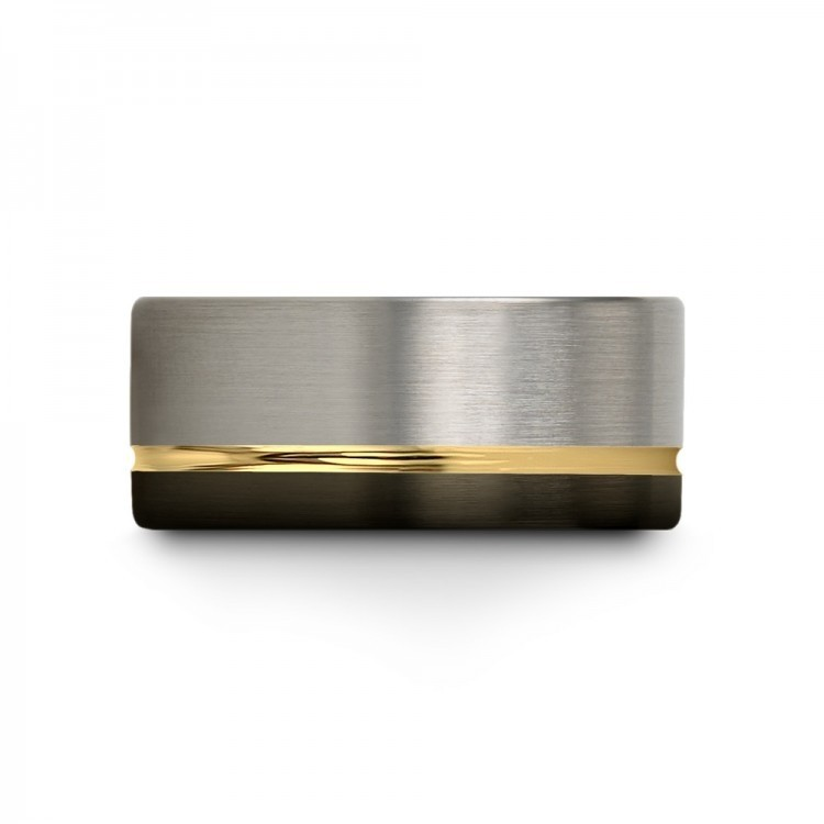 Galena Gray Moonlit Graphite Yellow Gold 10mm Unique Wedding Ring
