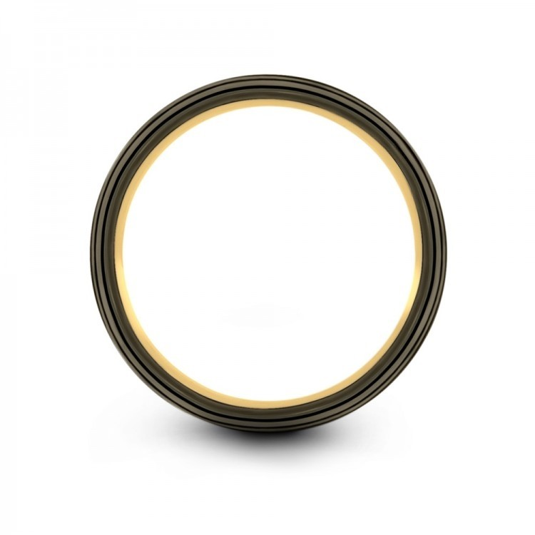 Galena Gray Moonlit Graphite Yellow Gold 10mm Wedding Band