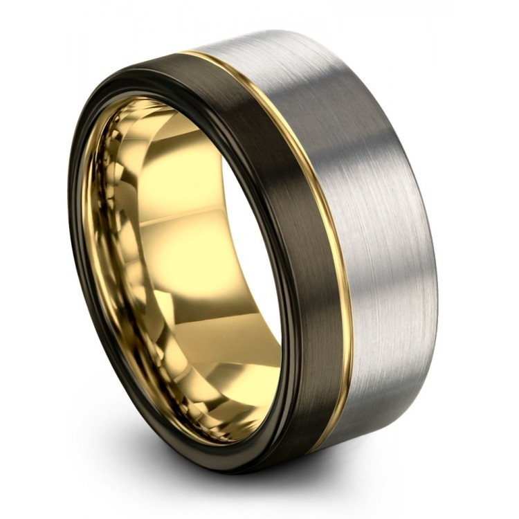 Galena Gray Moonlit Graphite Yellow Gold 10mm Wedding Ring