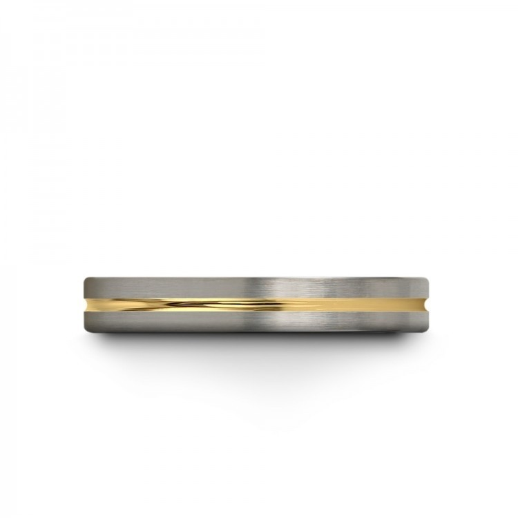 Galena Gray Moonlit Graphite Yellow Gold 4mm Unique Wedding Ring