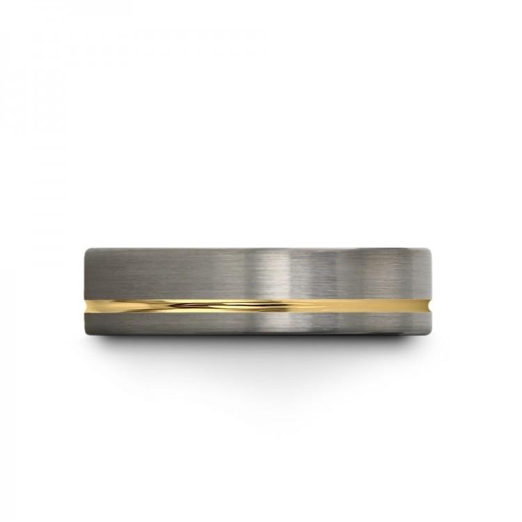 Galena Gray Moonlit Graphite Yellow Gold 6mm Unisex Unique Wedding Rings
