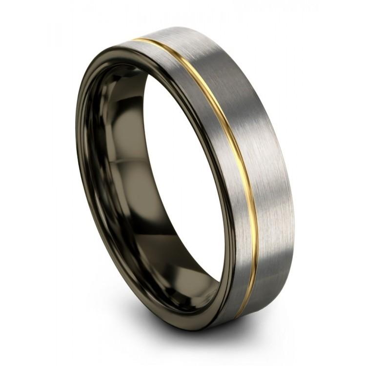 Galena Gray Moonlit Graphite Yellow Gold 6mm Unisex Wedding Rings
