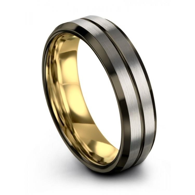 Galena Gray Moonlit Graphite Yellow Gold 6mm Wedding Ring