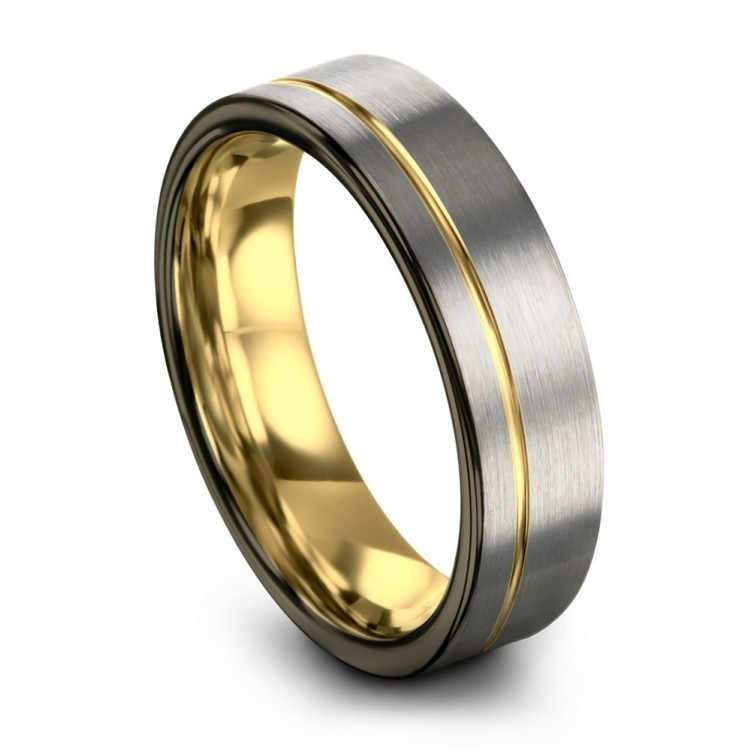Galena Gray Moonlit Graphite Yellow Gold 6mm Wedding Rings