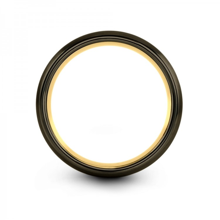 Galena Gray Moonlit Graphite Yellow Gold 8mm Unique Wedding Band
