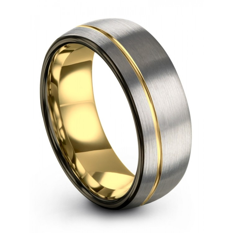 Galena Gray Moonlit Graphite Yellow Gold 8mm Wedding Bands
