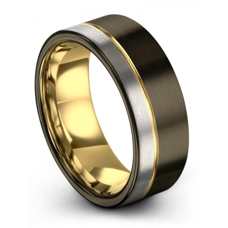 Galena Gray Moonlit Graphite Yellow Gold 8mm Wedding Ring