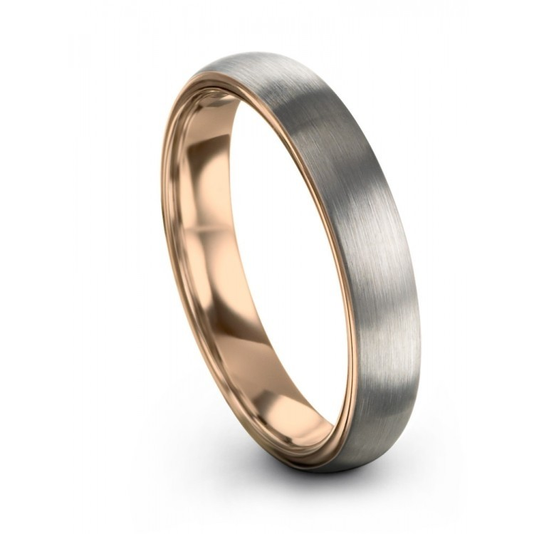 Galena Gray Rose Gold 4mm Unique Wedding Rings