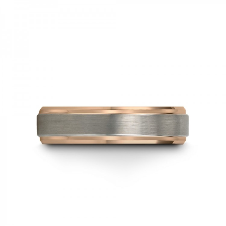 Galena Gray Rose Gold 6mm Unique Wedding Rings