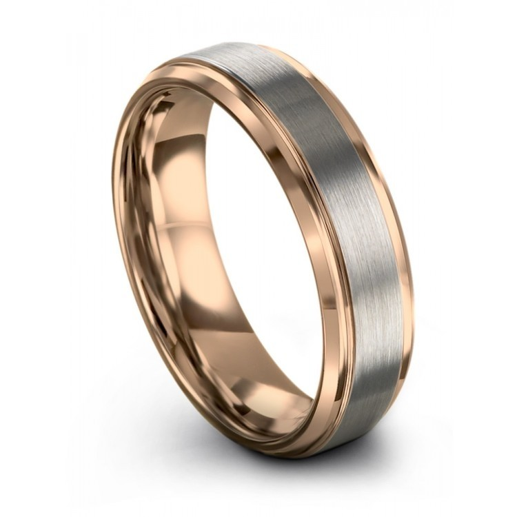 Galena Gray Rose Gold 6mm Wedding Rings