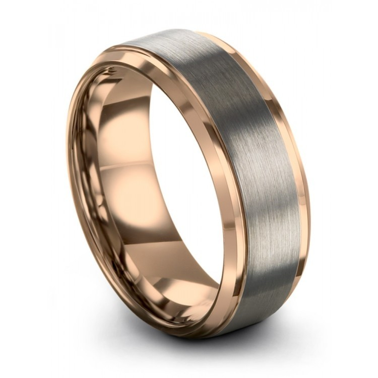 Galena Gray Rose Gold 8mm Latest Wedding Ring