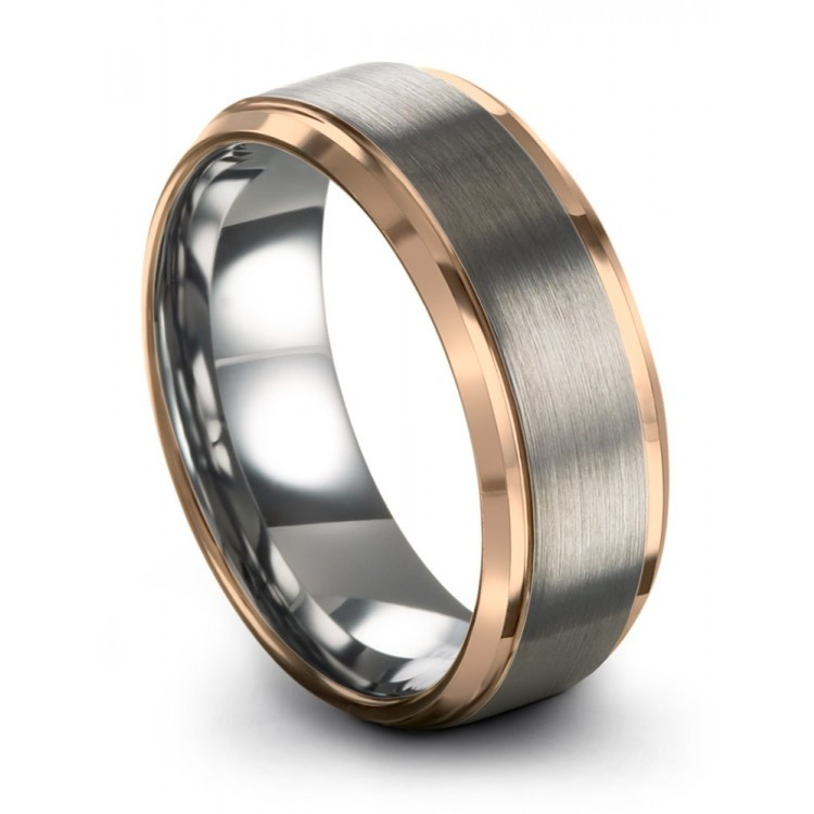 Galena Gray Rose Gold 8mm Unique Wedding Rings