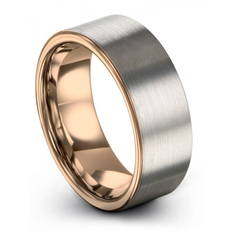 Galena Gray Rose Gold 8mm Wedding Ring