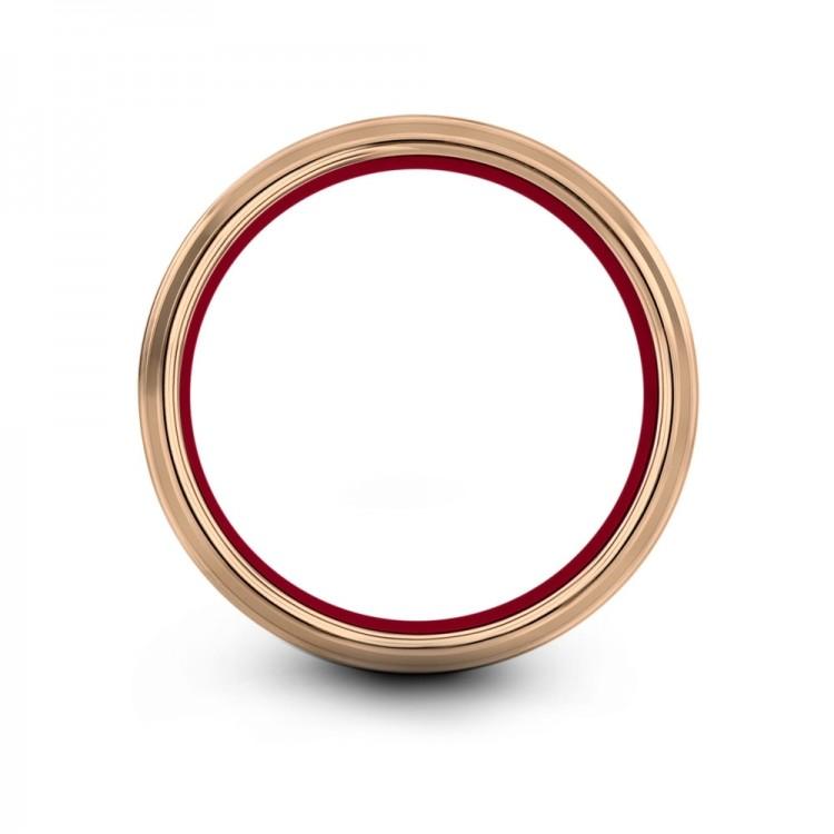 Galena Gray Rose Gold Crimson Allure 8mm Fancy Mens Wedding Band
