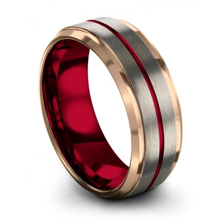Galena Gray Rose Gold Crimson Allure 8mm Fancy Wedding Ring