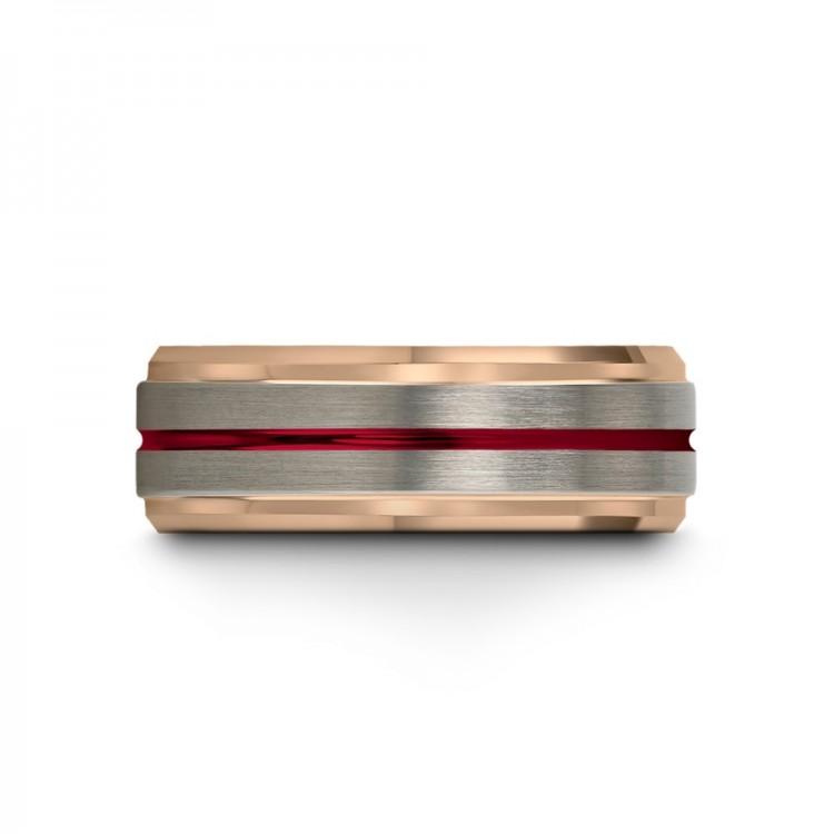Galena Gray Rose Gold Crimson Allure 8mm Fancy Women Wedding Ring