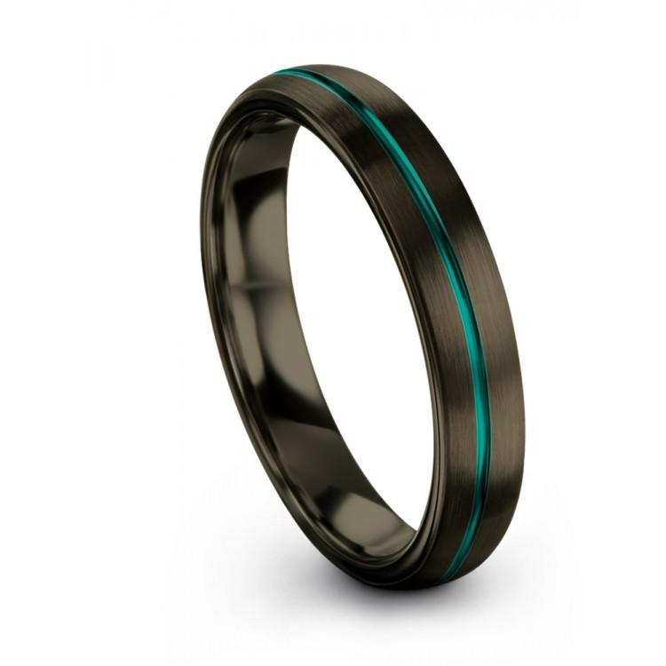 Moonlit Graphite Aqua Teal 4mm Wedding Band