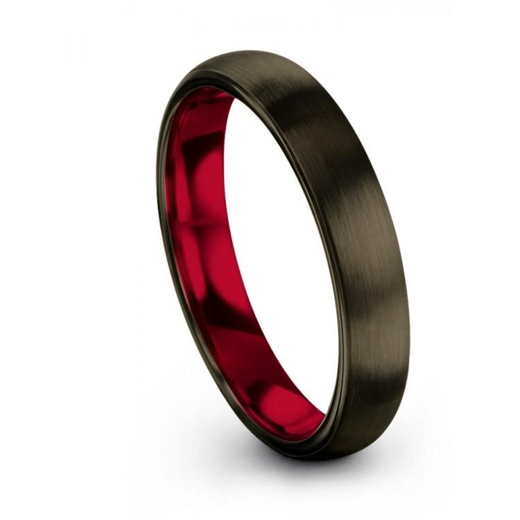 Moonlit Graphite Crimson Allure 4mm Wedding Band