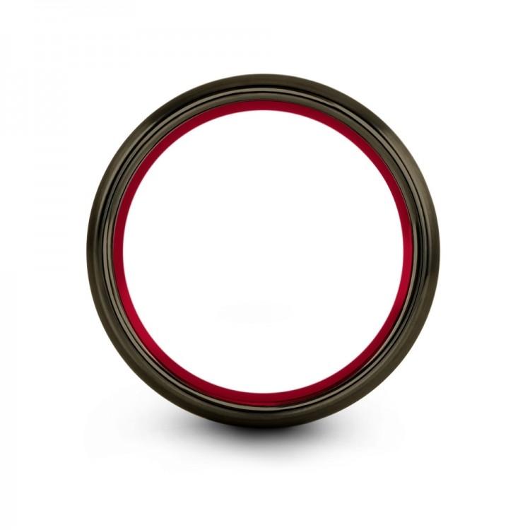Moonlit Graphite Crimson Allure 8mm Mens Wedding Band
