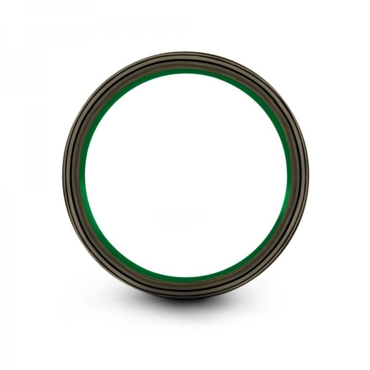 Moonlit Graphite Emerald Zing 8mm Mens Wedding Band