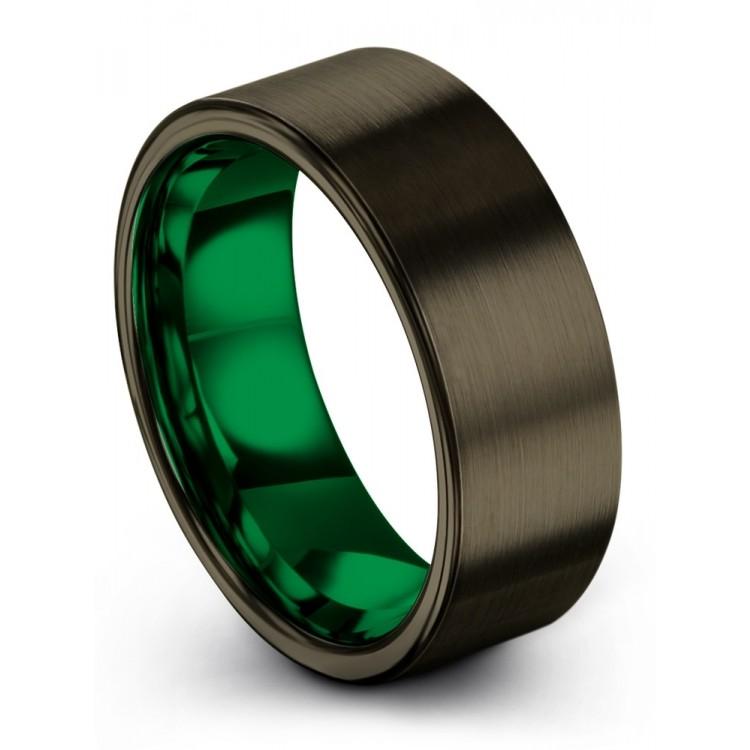 Moonlit Graphite Emerald Zing 8mm Wedding Ring