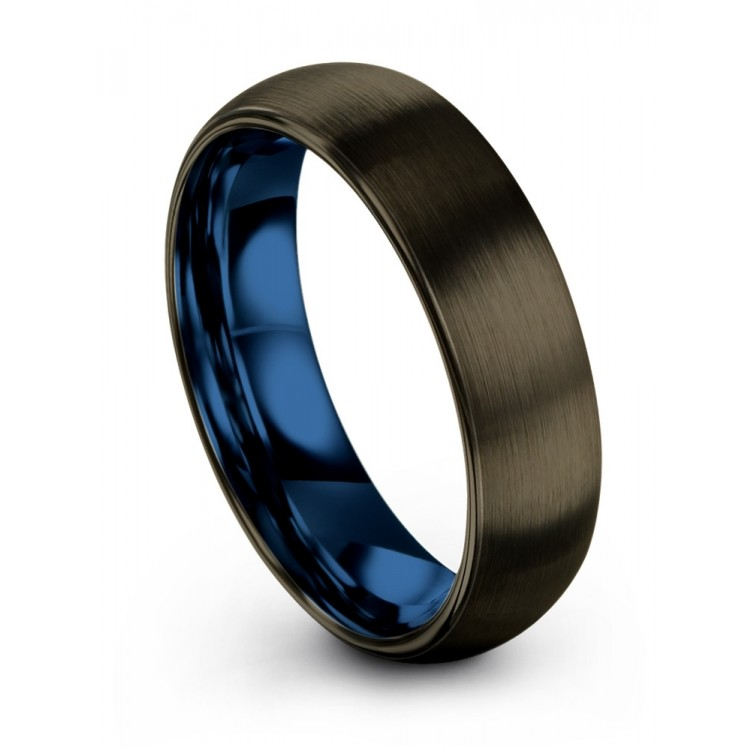 Moonlit Graphite Empire Blue 6mm Wedding Ring