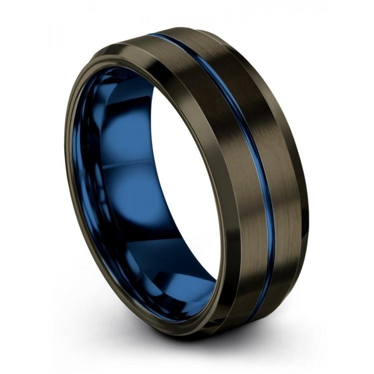 Moonlit Graphite Empire Blue 8mm Latest Wedding Ring