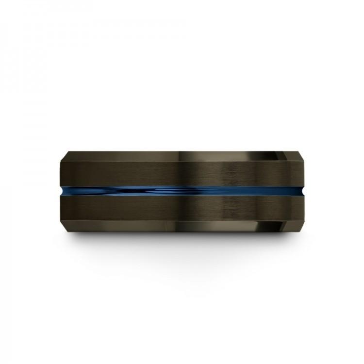 Moonlit Graphite Empire Blue Emerald Zing 8mm Flare Latest Wedding Rings