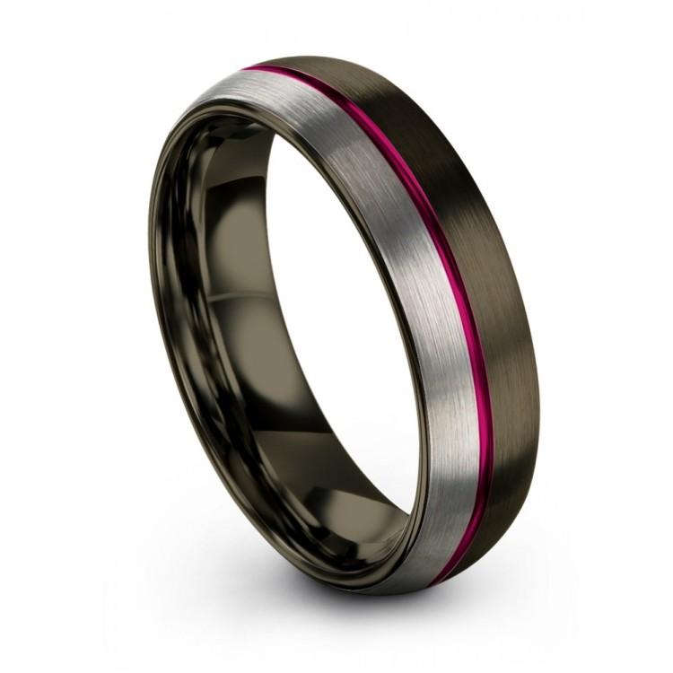 Moonlit Graphite Galena Gray Cosmic Flare 6mm Wedding Band