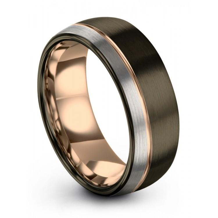 Moonlit Graphite Galena Gray Dark Knight Rose Gold 8mm Fancy Wedding Ring