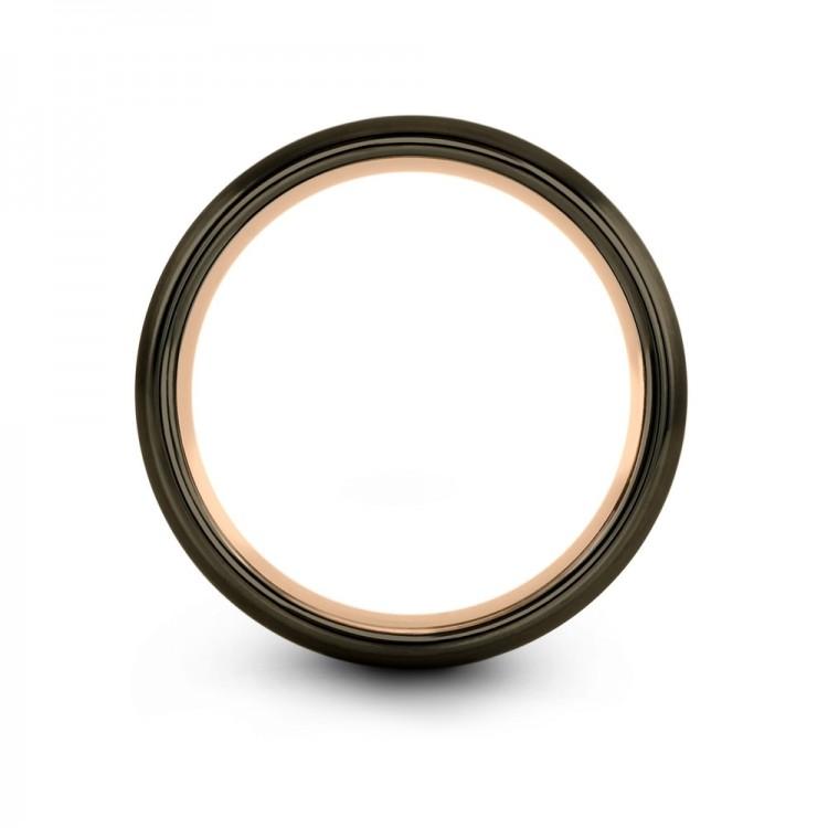 Moonlit Graphite Galena Gray Dark Knight Rose Gold 8mm Fancy Women Wedding Ring