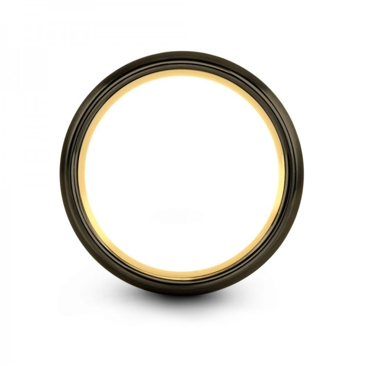Moonlit Graphite Galena Gray Dark Knight Yellow Gold 4mm Mens Wedding Bands