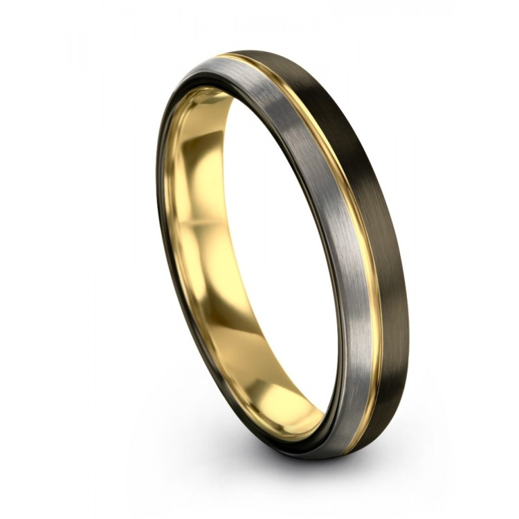 Moonlit Graphite Galena Gray Dark Knight Yellow Gold 4mm Wedding Bands