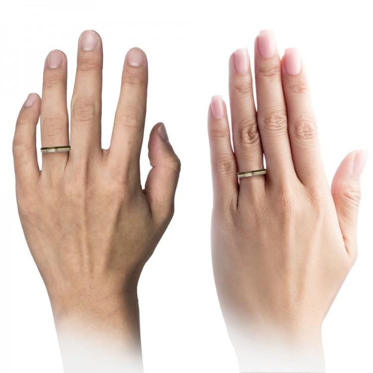 Moonlit Graphite Galena Gray Dark Knight Yellow Gold 4mm Women Wedding Rings