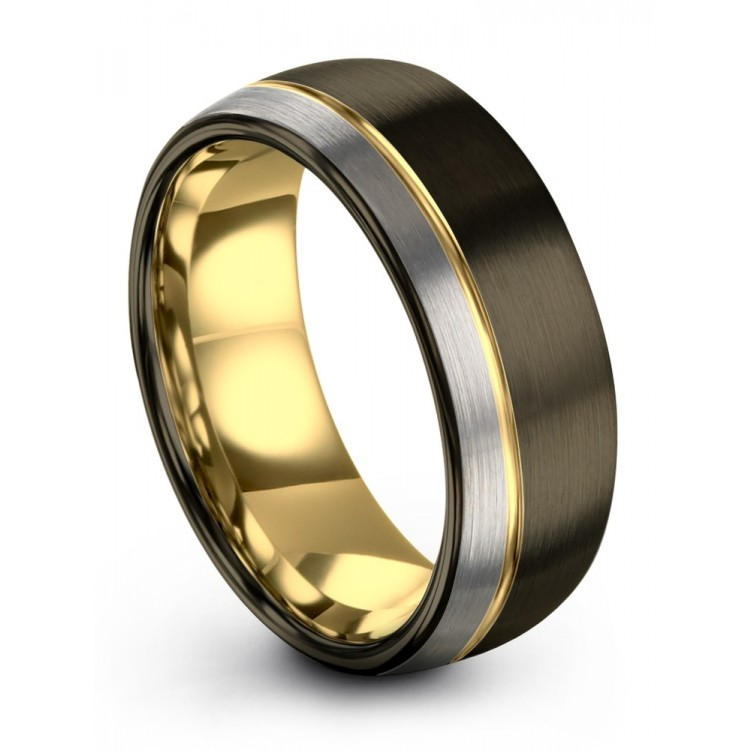 Moonlit Graphite Galena Gray Dark Knight Yellow Gold 8mm Unique Wedding Rings