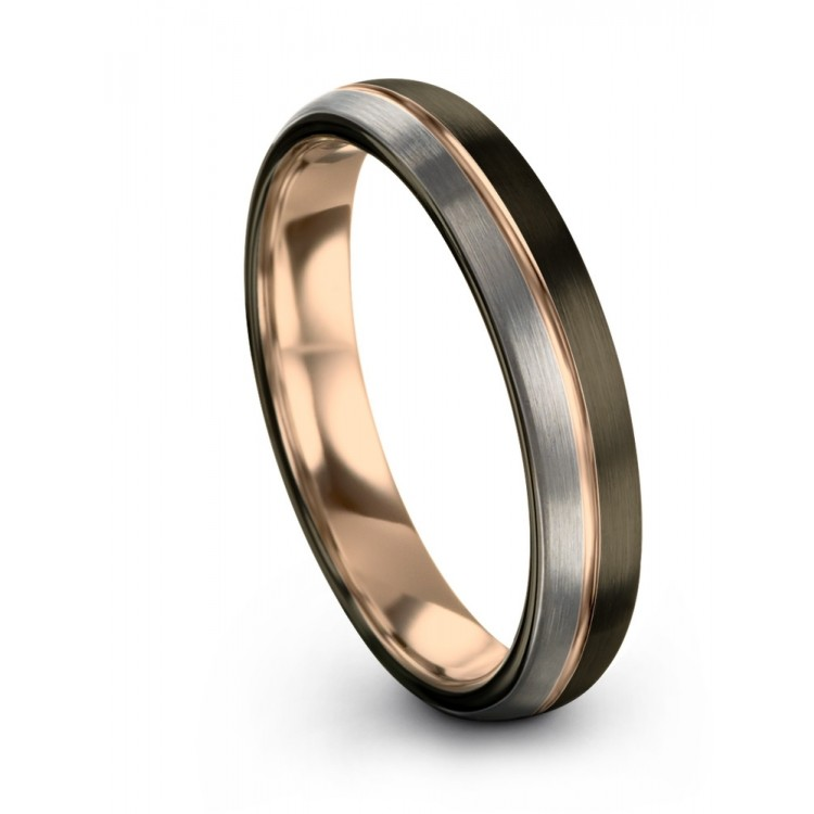 Moonlit Graphite Galena Gray Rose Gold 4mm Unisex Wedding Ring