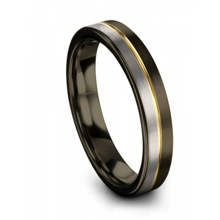 Moonlit Graphite Galena Gray Rose Gold 4mm Wedding Ring