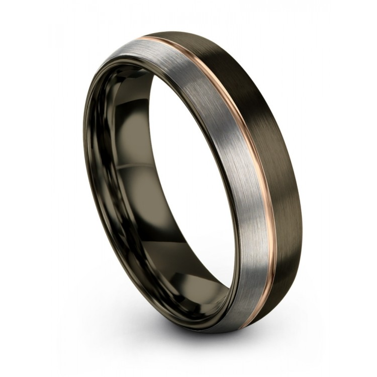 Moonlit Graphite Galena Gray Rose Gold 6mm Latest Wedding Band