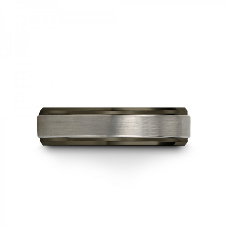 Moonlit Graphite Galena Gray Rose Gold 6mm Women Wedding Ring