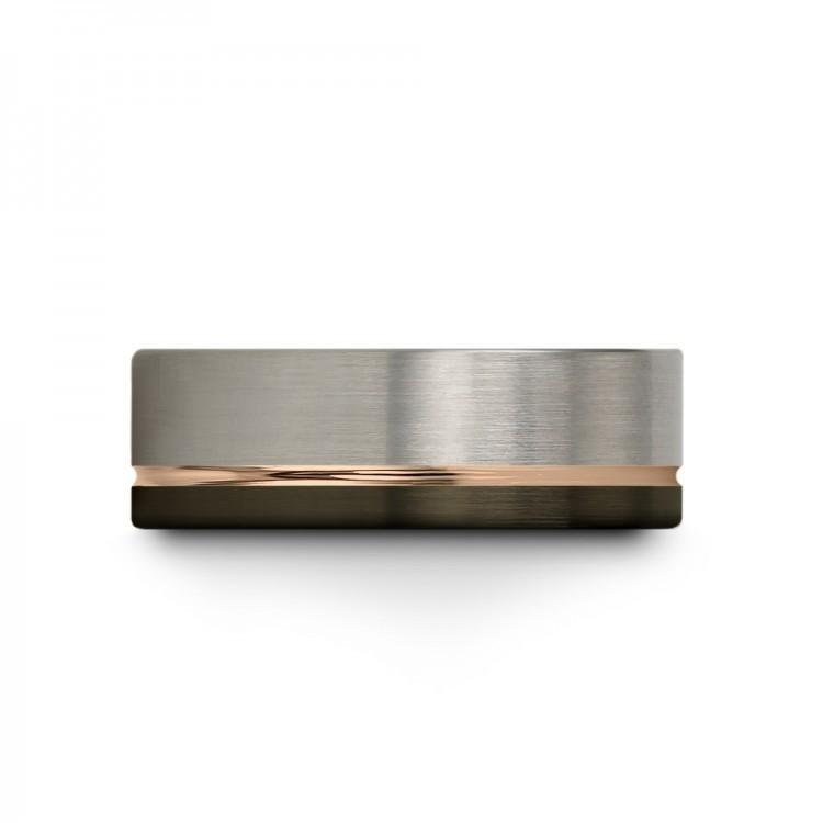 Moonlit Graphite Galena Gray Rose Gold 8mm Unique Wedding Ring