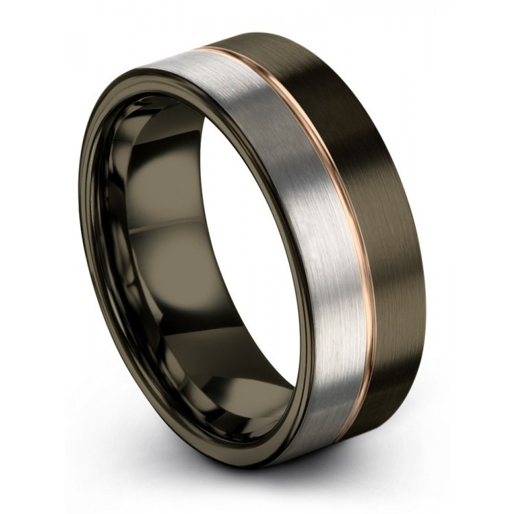 Moonlit Graphite Galena Gray Rose Gold 8mm Unisex Wedding Ring
