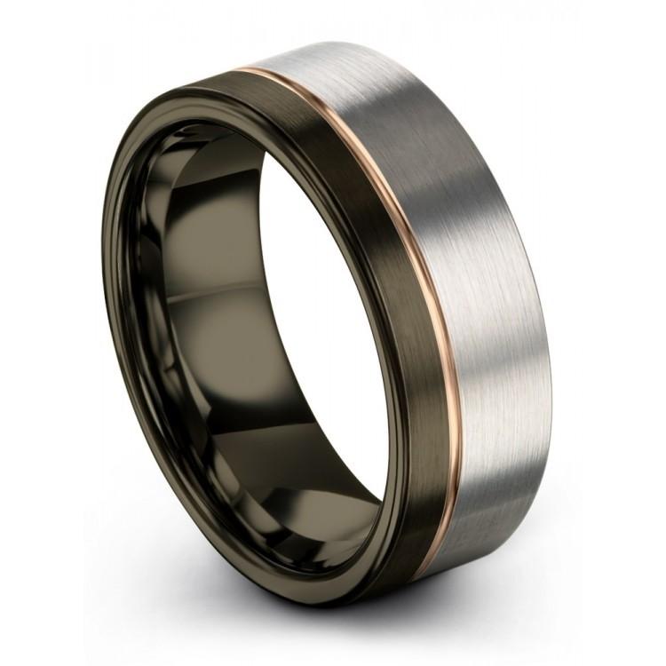 Moonlit Graphite Galena Gray Rose Gold 8mm Wedding Ring