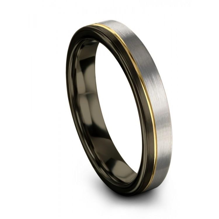 Moonlit Graphite Galena Gray Yellow Gold 4mm Wedding Ring