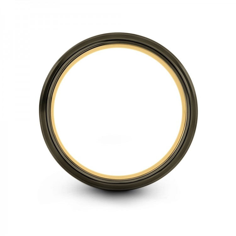 Moonlit Graphite Galena Gray Yellow Gold 8mm Mens Wedding Band