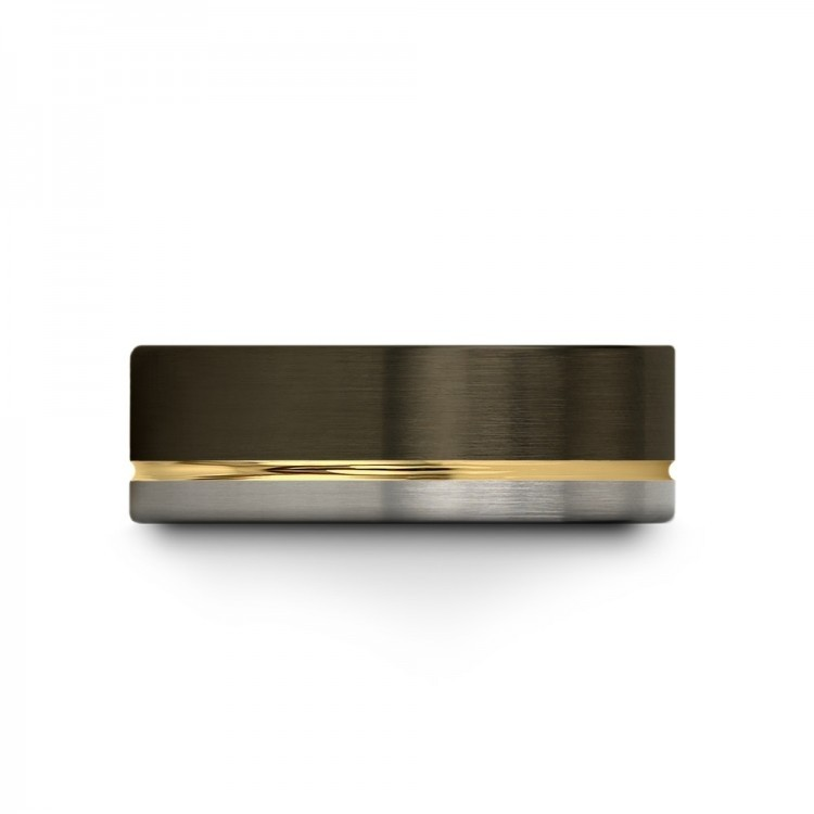 Moonlit Graphite Galena Gray Yellow Gold 8mm Unique Wedding Rings